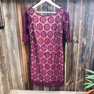 AUW Lace Midi Dress - Purple - Size Med